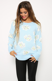 sweater,blue,baby blue,light blue,knit,jumper,jacket,fluffy,comfy,cute,floral,blue floral,white,yellow,cream,winter outfits,cartoon,winter sweater