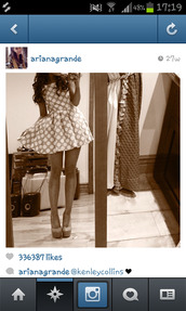 dress,polka dots,ariana grande,cute,heels,flowy