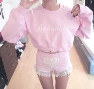shorts pink kawaii pastel babydoll cute lace shorts heart shorts crewneck