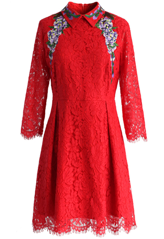 dress crape myrtle full lace dress in red chicwish lace dress red dress