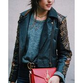 jacket,tumblr,embellished jacket,embellished,black leather jacket,leather jacket,black dress,necklace,minimalist jewelry,jewelry,top,grey top,red bag,bag,j w anderson,J.W.Anderson bag,crescent pendant,gucci belt,jewels,choker necklace,layered,black choker,gold necklace,gold,gold jewelry