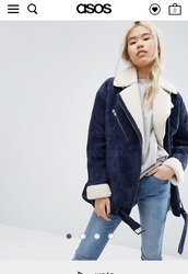 jacket,leather,daim,blue,bleu marine,marine blue,sheep,sheep jacket,asos,asos coat,asos jacket,coat,winter coat,bleu foncé,blue coat,blue jacket,mouton