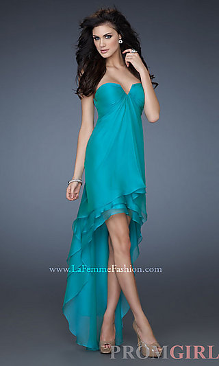Strapless High Low Dress, La Femme Strapless Prom Dress- PromGirl