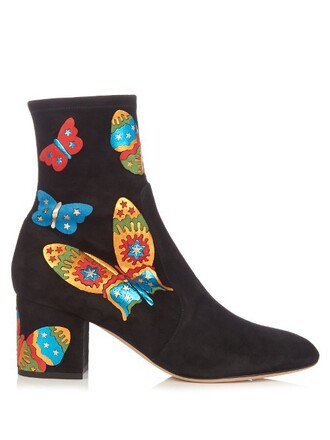 suede ankle boots butterfly boots ankle boots suede black shoes