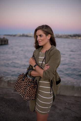 gal meets glam blogger striped dress army green animal print bag