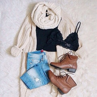 blouse sweater cardigan shoes jeans scarf bralette