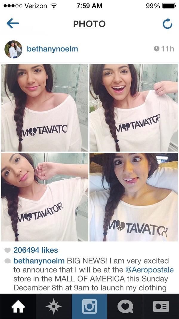 shirt bethany mota motavator t-shirt youtuber