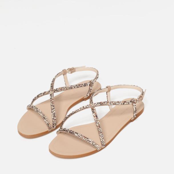 shoes, strappy flats, metallic, glitter