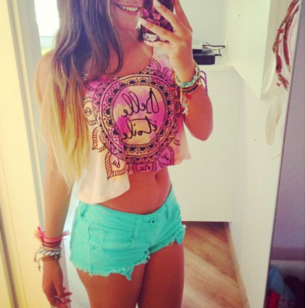 Shorts Crop Tops Light Blue Pink Mini Shorts Crop Tops Outfit Outfit Cute Outfits Shirt