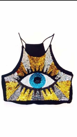 top sequins eye croptop