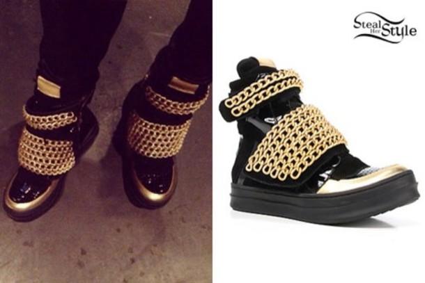 shoes black gold