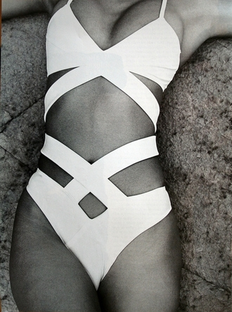 swimwear one piece swimsuit white swimwear cut-out swimsuit sexy swimsuit white one piece cut-out