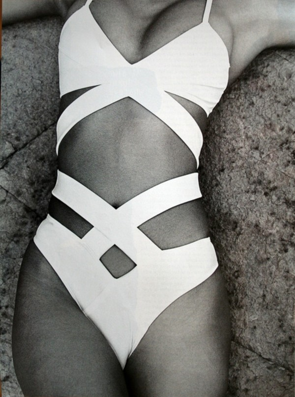 swimwear one piece swimsuit white swimwear cut-out swimsuit sexy swimsuit white one piece cut-out cut-out swimsuit monokini strappy bikini