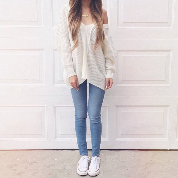 sweater girl jeans blue jeans white sweater necklace gold necklace cardigan coat shoes cute cute outfits cute outfits nice nice outfit girly outfits tumblr girly girly girly grey sweater grunge pale pale grunge white cool hipster outfit blouse tumblr outfit tumblr sweater converse blonde hair shirt i really need all the outfit fall sweater white t-shirt knitwear light blue jeans white shoes colorful jewels