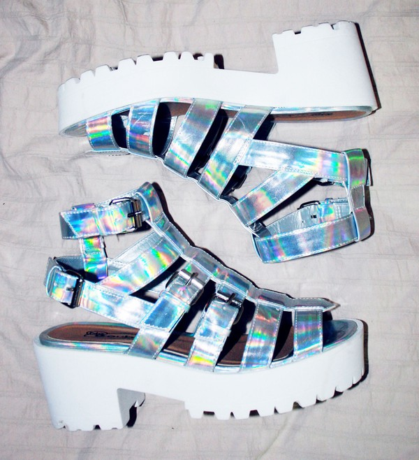 shoes platform shoes holographic sandals kawaii white silver jellies buckles gladiators heels vintage cute style summer Silver sandals