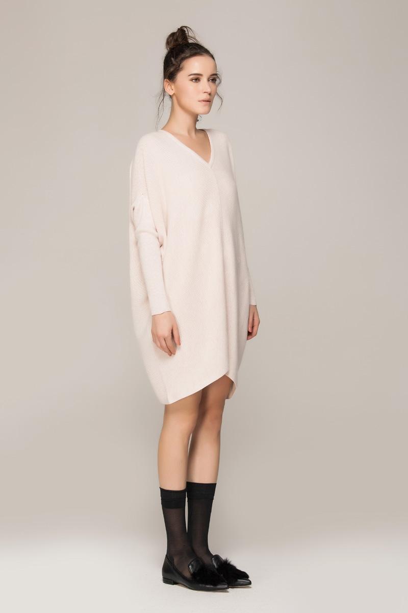 Bat-sleeved sweater dress