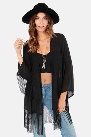 Cute Black Top - Kimono Top - Fringe Top - $53.00