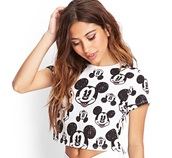 top,mickey mouse,forever 21,white t-shirt