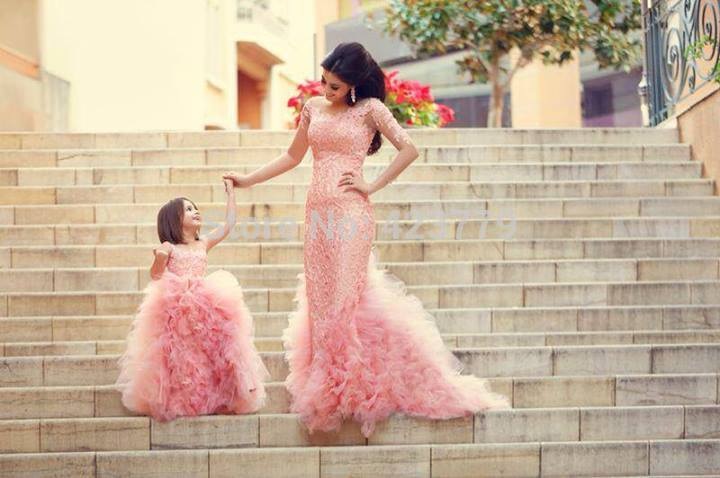Aliexpress.com : Buy New Fashion 2014 Ruffled Bride Flower Girl Dresses Floor Length Sheer Neck Pink Little Girls Pageant Dresses from Reliable dress headbands suppliers on 27 Dress