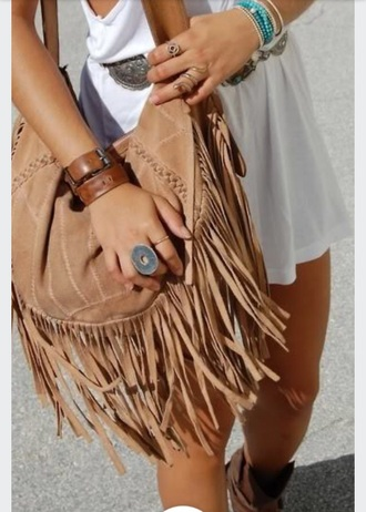 bag fringed bag camel bag