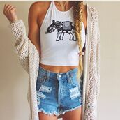 blouse,top,shorts,cardigan,tank top,sweater,elephant,indie,hipster,crop tops,shirt,summer dress,floral cardigan,summer outfits,halter neck,beachy tank,beach,summer top,summer shirt,elephant print tank tee,halter top,racer back tank,graphic crop tops,graphic tee,black and white,crop tops high waisted shorts,elepants,High waisted shorts,summer shorts,back to school,elephant top,urban outfitters,hippie,white,summer,ida greco,t-shirt,bag,white shirt,cute,outfit