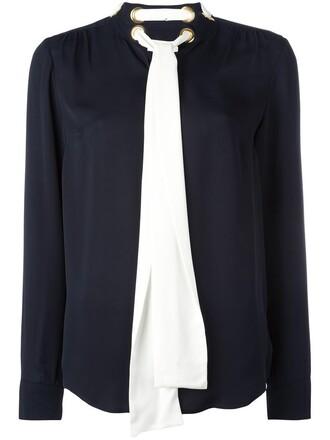 blouse bow women blue silk top
