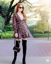 dress,floral dress,printed dress,ruffle dress,plunge v neck,mini dress,thigh high boots,suede boots,shoulder bag,sunglasses