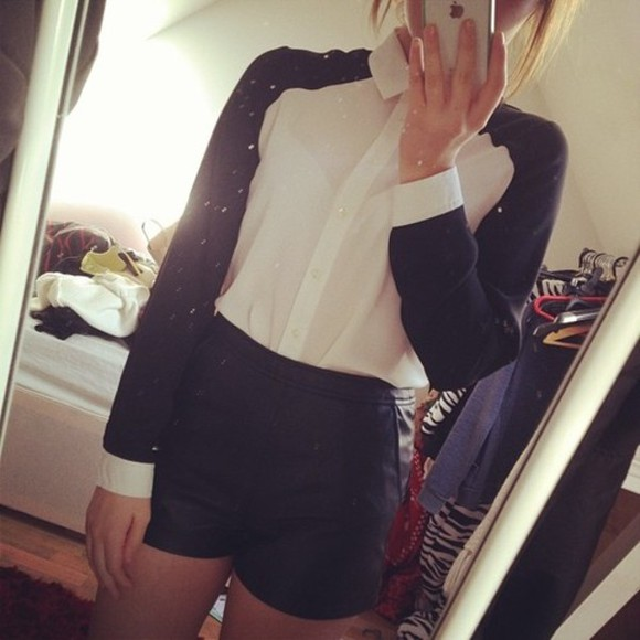 black shorts top long sleeve collar top collar top