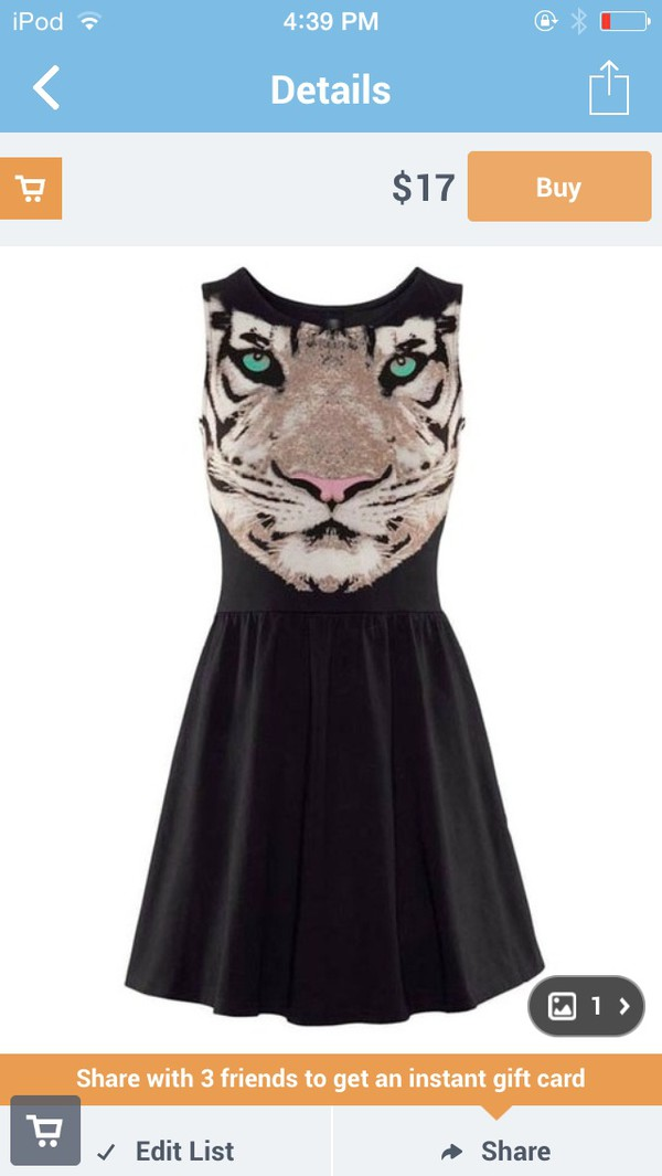 dress tiger fashion face black
