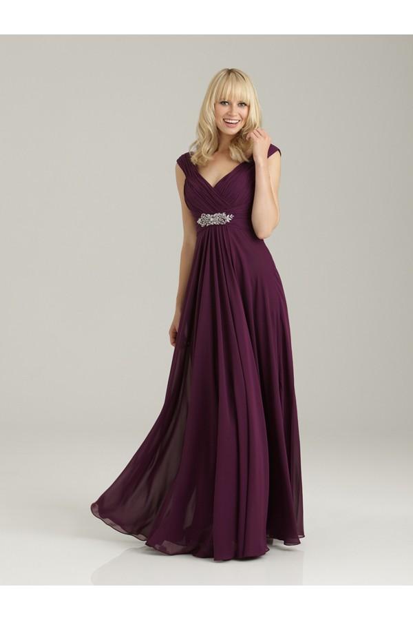 A-line V-neck Sleeveless Chiffon Prom Dresses/Homecoming Dresses With Beaded