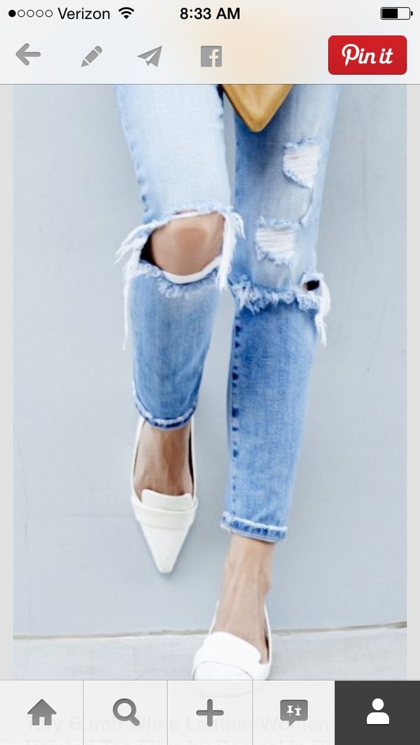 shoes jeans bag clutch chestnut stripes used jeans white black white shoes loafer ripped jeans white pointed flats