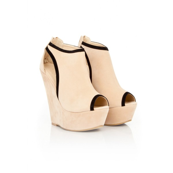 Herai Cut Out Peep Toe Wedges In Nude - Polyvore