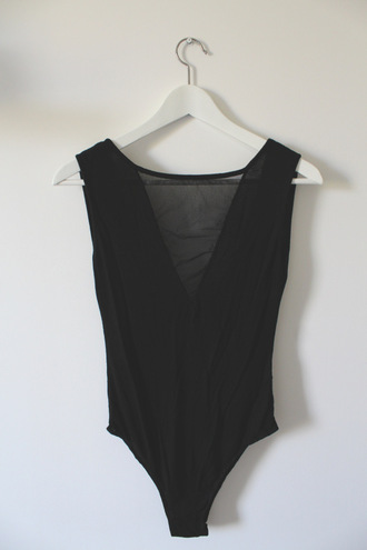 tank top black body bodysuit transparent black bodysuit brandy melville