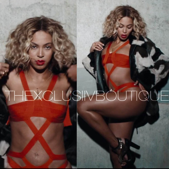 swimwear bathing suit bikini cut out beyonce bey queen b beyonce knowles bandage bathing suit bandage monokini orange monokini orange cut out bikini highwaisted shorts yonce liquor