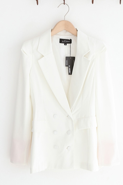 Double Breasted Notched Lapels High Quality Suit Coat - OASAP.com