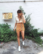 skirt,tumblr,mini skirt,asymmetrical,asymmetrical skirt,ruffle,shirt,stripes,striped shirt,sneakers,white sneakers,low top sneakers