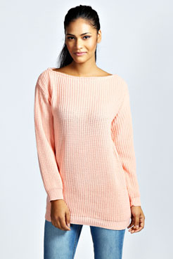 Kadie Slash Neck Fisherman Jumper Dress at boohoo.com