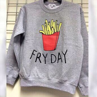 sweater fries cold winter outfits winter sweater grey sweater friday fryday funny chill food cardigan oversized sweater