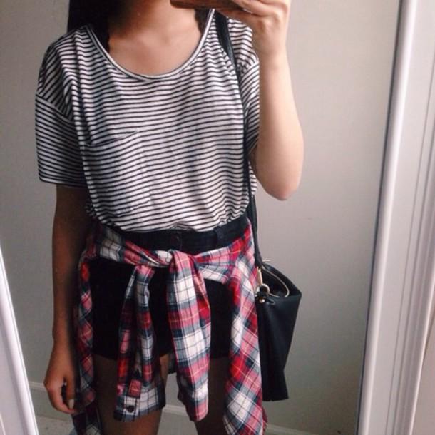 T shirt stripes striped t shirt black black t shirt for Red black and white flannel shirt
