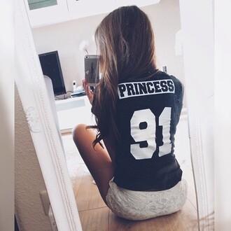 t-shirt 91 princess jersey black t-shirt shirt black white number number shirt tee