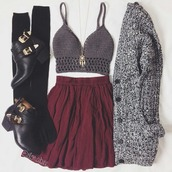 cardigan,skirt,sweater,shirt,top,bralette,bralette tops,bralette top,bralette set,dreamcatcher necklace,dream catcher jewelry,dreamcatcher,necklace,gold necklace,burgundy,burgundy skirt,knitted cardigan,chunky cardigan,over the knee socks,over the knee,black socks,socks,ankle boots,black boots,boots,black ankle boots,cut out shoes,outfit,outfit idea,fashion inspo,cute,cool,girl,summer,hipster,vintage,clothes,gorgeous,pretty,beautiful,women,stylish,style,trendy,tumblr,tumblr outfit,tumblr skirt,tumblr top,tumblr clothes,date outfit,instagram,blogger,fashionista,chill,rad,on point clothing,jewels,shoes,jewelry,boho,boho jewelry,blouse,red skirt,black heels,grey top,crop tops,bordeux,black,outift,jacket,winter outfits,dress,same color as picture,and the shorts