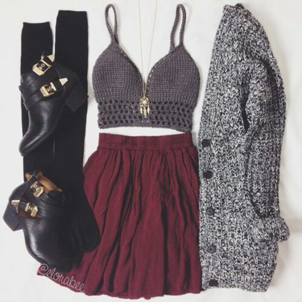 cardigan skirt sweater shirt top bralette bralette tops bralette bralette bralette bralette top bralette set dreamcatcher necklace dream catcher jewelry dreamcatcher necklace gold necklace burgundy burgundy skirt knitted cardigan chunky cardigan over the knee socks over the knee black socks socks ankle boots black boots boots black ankle boots cut out shoes outfit outfit idea fashion inspo fashion inspo cute cool girl summer hipster vintage clothes gorgeous pretty beautiful women stylish style style trendy trendy trendy tumblr tumblr outfit tumblr skirt tumblr top tumblr clothes date outfit instagram blogger blogger blogger blogger fashionista fashionista chill rad on point clothing jewels shoes jewelry dreamcatcher boho boho jewelry blouse red skirt black heels grey top crop tops bordeux crop tops black outift jacket winter outfits girl dress same color as picture and the shorts