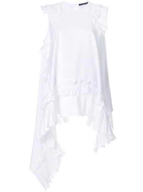 blouse ruffle women white cotton top