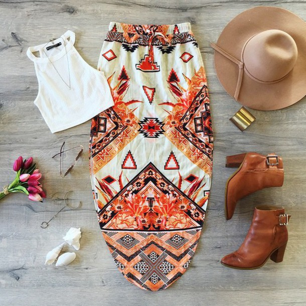 skirt top outfit muraboutique spring outfits crop tops crop hat high heels white crop tops summer shirt shoes t-shirt ethnic pattern bohemian maxi skirt tribal skirt