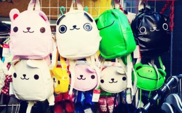 bag cats dog panda frog bear black white yellow green pink