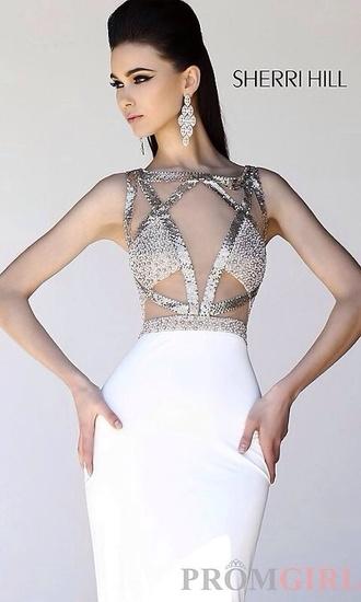 dress white dress sherri hill white prom dress