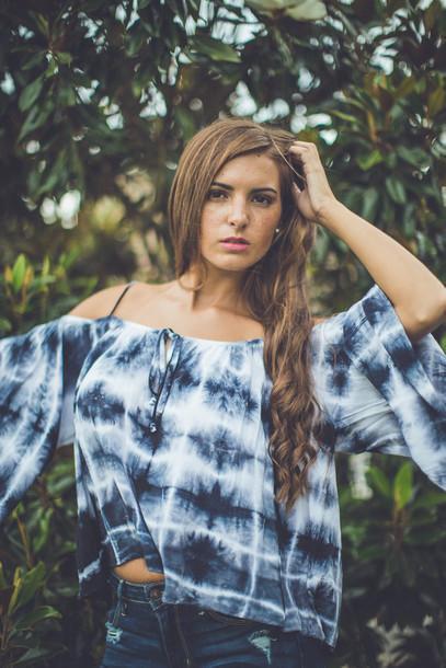 feda998330cb0 blouse ti dye summer top shirt blue navy black white entourage boho indie  hippie festival style