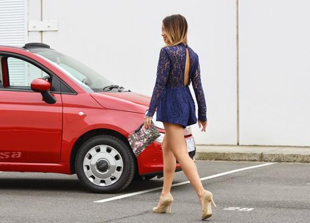 friend in fashion blogger romper lace pouch