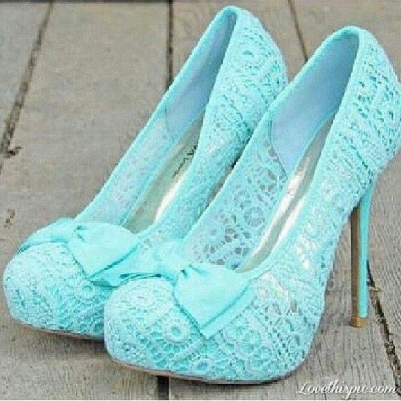shoes pumps light blue bow lace cute high heels