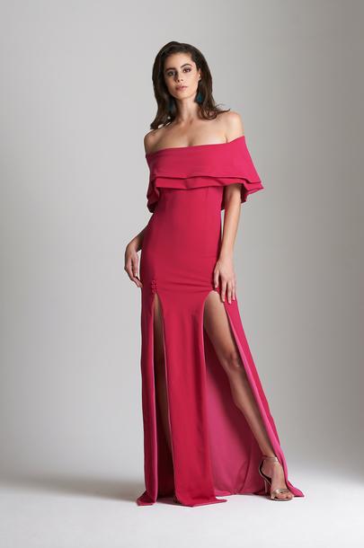fe9c2b49bf15 dress hotpinkgown doubleslit womenformal promgown formalgown partygown  parismiller hot pink evevardar double slit dress formalwear prom